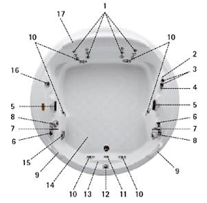 1. Вращающиеся форсункигидромассажа спины (6+6) 2. Крышка емкости для заполнения дезинфицирующей жидкостью...