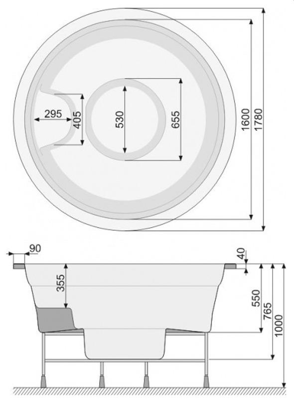Wanna Spa Victoria 178 (skimmer) - rysunek techniczny.